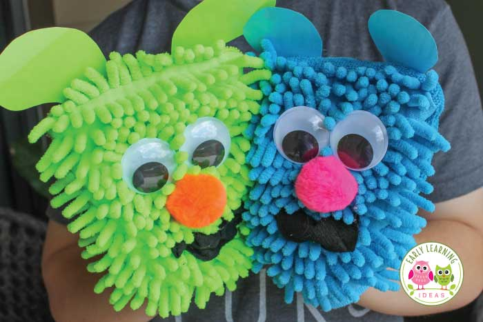 Make these silly rhyming puppets and use them for rhyming activities. Your kids will have so much fun that they won't realize they are learning. This simple activity is perfect for literacy centers, circle time, large group activities, and small group activities. Teach rhyming to kids in preschool, pre-k, kindergarten, TK, SPED, RTI. A simple tutorial, activity and game ideas are included. This is a perfect activity to use with the Rhyming Dust Bunnies book. #preschool #rhymingactivities
