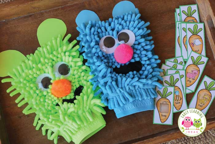 Make these silly rhyming puppets and use them for rhyming words activities. Your kids will have so much fun that they won't realize they are learning. This simple activity is perfect for literacy centers, circle time, large group activities, and small group activities. Teach rhyming to kids in preschool, pre-k, kindergarten, TK, SPED, RTI. A simple tutorial, activity and game ideas are included. This is a perfect activity to use with the Rhyming Dust Bunnies book. #preschool #rhymingactivities