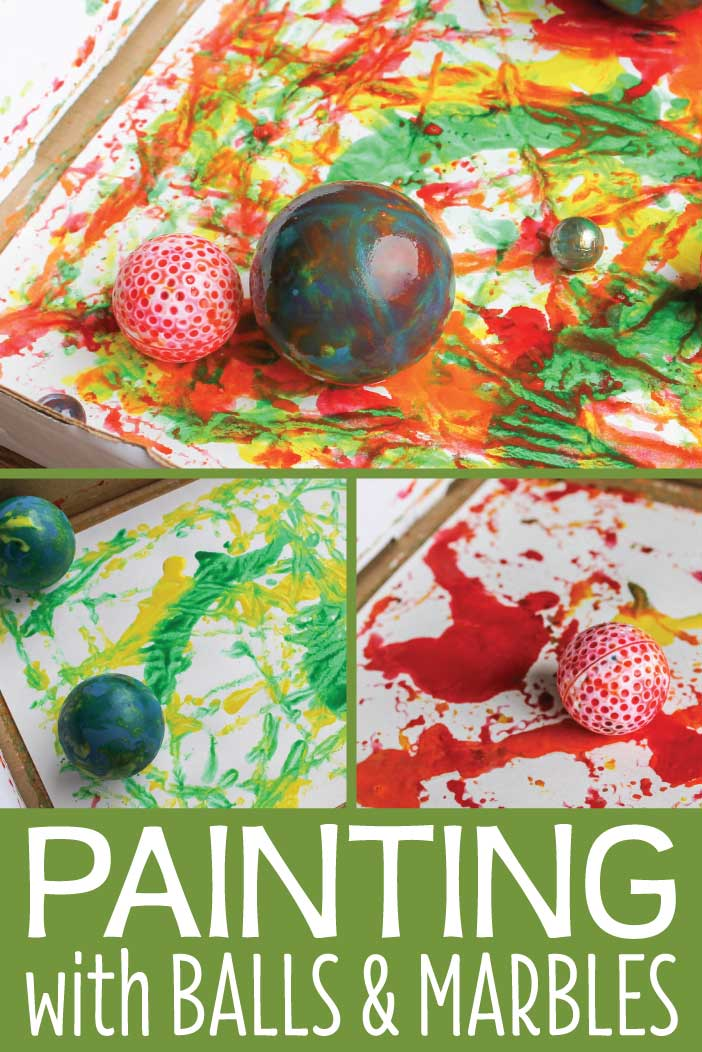 Art for preschoolers is combined with science when you paint with marbles and balls. Kids will have a blast creating and experimenting as they paint. These are great process art ideas for preschool and pre-k. A great addition to your creative curriculum unit on balls.