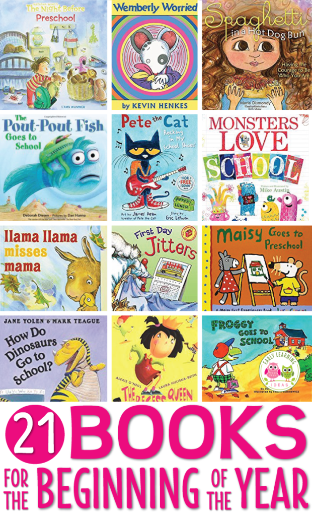 Here is a great list of books for the beginning of the school year.  These preschool teacher suggested titles will help you overcome first day anxiety, establish a classroom routine, and build a classroom community. Perfect for the first day or first week of school in preschool, pre-k, or kindergarten.