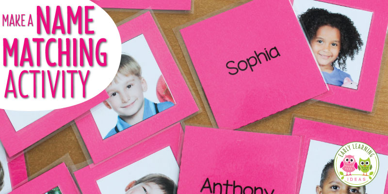 Make your own name matching game - a great beginning of year activity for preschool, pre-k, and kindergarten. The article includes templates, directions to help you make your own name matching memory match game, and ideas for name activities.