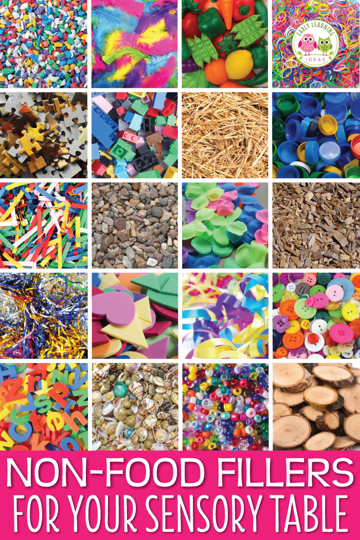 Here is a huge list of non-food fillers and mix-ins for your sensory table or sensory bin.   Perfect for preschool, pre-k, kindergarten, or prep