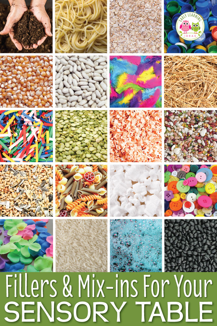 Are you looking for new ideas for sensory table materials. This article provides a HUGE list of ideas for fillers, mix-ins, and tools to use in your sensory table or sensory bin. The combinations are endless.