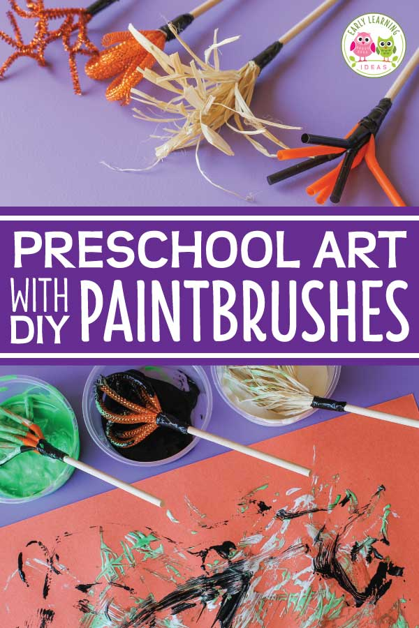 Are you looking for some preschool art ideas to go with your fall or Halloween theme?  Learn how to make your own paint brushes from a few simple materials.  Kids will have fun experimenting and learning with the brushes. Kids will love the fun process art projects.   This is a perfect addition to your art center for a Halloween theme or fall theme unit or lesson plans.  Preschool arts and crafts projects plus fine motor skills activities.  Get out the pipe cleaners and make art with your kids.
