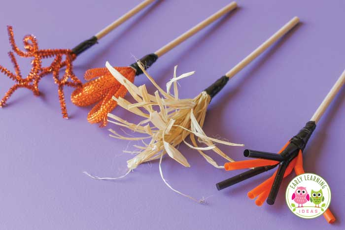 Are you looking for some preschool art ideas to go with your fall or Halloween theme?  Learn how to make your own paint brushes from a few simple materials. Kids will have fun experimenting and learning with the brushes. Kids will love the fun process art projects. This is a perfect addition to your art center for a Halloween theme or fall theme unit or lesson plans. Preschool arts and crafts projects plus fine motor skills activities. Get out the pipe cleaners and make Halloween art.