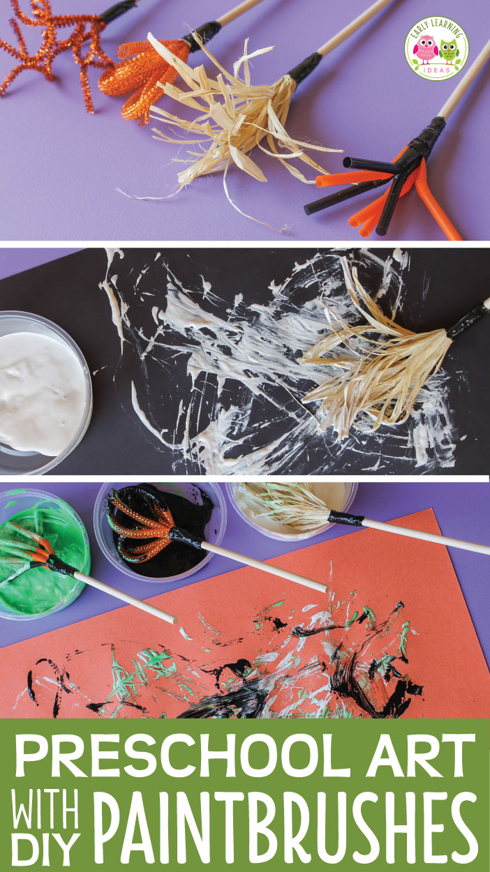 Are you looking for some preschool art ideas to go with your fall or Halloween theme?  Making DIY paintbrushes is a great way to experiment with materials. This is a great process art activity that works with your thematic unit in tot school, preschool, pre-k, and kindergarten. Preschool STEAM, open ended art
