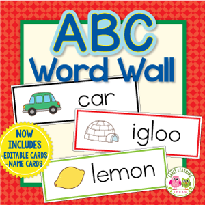 early childhood word wall cards