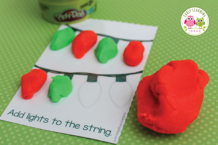 Download these free printable Christmas play dough mats make a great Christmas gift for students in your classroom, an inexpensive party favor, or a fun activity for a kids Christmas party. Easy to assemble...just print, laminate, and cut and add play dough.....a printable gift tag is even included. This is a great fine motor activity for kids in preschool, pre-k, and kindergarten. Children will love getting this gift from their teacher and parents will love that it doesn't contain sugar.