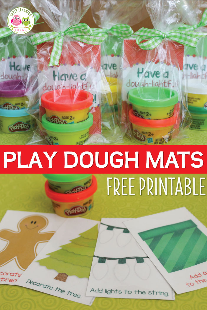 These free printable Christmas play dough mats make a great Christmas gift for students, a nice party favor, or a fun activity for a kids Christmas party. Just print, laminate, and cut and add play dough.....a printable gift tag is even included. This is a great fine motor activity for kids in preschool, pre-k, and kindergarten. Kids party gift bags. Christmas party for kids. Teacher gift for kids. Classroom holiday party. preschool, pre-k, kindergarten, first grade, 1st grade