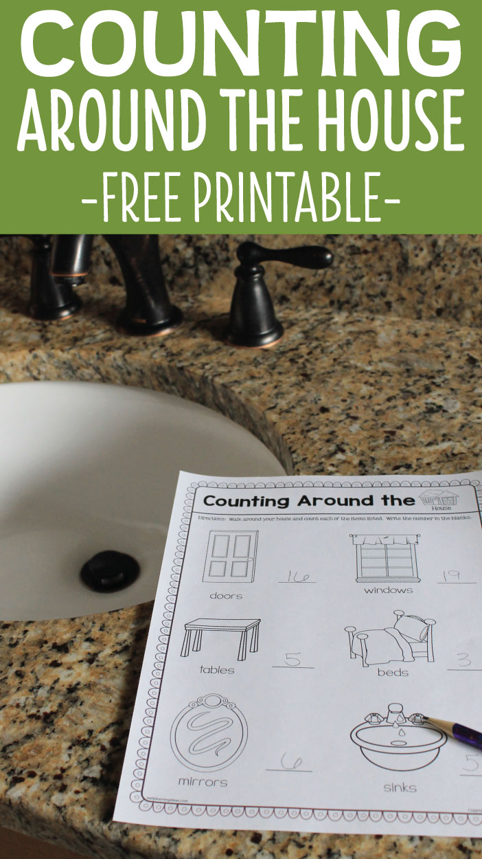 Opportunities for counting activities are all around us. Here is a free printable that kids can use to count some common items in their homes. This is a great take-home activity, but I have included ideas for classroom use as well, A great activity for preschool, pre-k, and kindergarten math centers and math stations. Perfect for a creative curriculum all about me or buildings study.