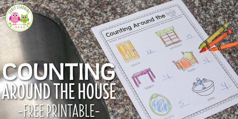 Opportunities for counting activities are all around us. Here is a free printable that kids can use to count some common items in their homes. This is a great take-home activity, but I have included ideas for classroom use as well, A great activity for preschool, pre-k, and kindergarten math centers and math stations. Perfect for a creative curriculum all about me or buildings study