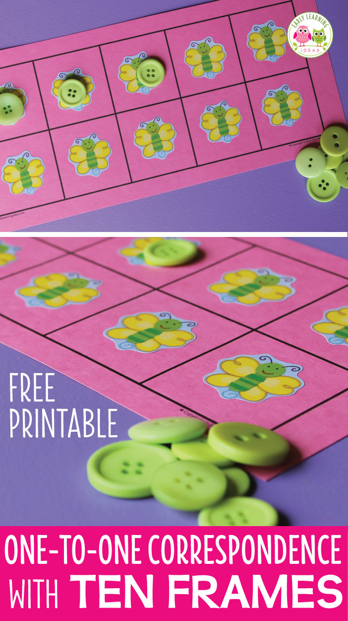 Use this free printable to create one-to-one correspondence activities for your kids.   Ideas to customize the five and ten frames are included. Perfect math center activities in preschool, pre-k and tot school. The counting activity can be customized for any theme or special interests of children. Meaningful, hands-on, early math concepts, numeracy, number concepts, early childhood math. Teach kids to count.