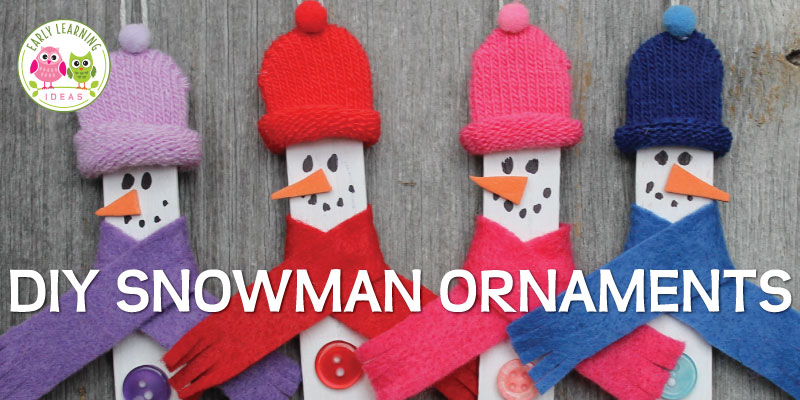 Looking for snowman crafts for kids?  Here is a great DIY snowman Christmas ornament for you and your kids to make.  The snowman ornament DIY project is a great activity to make for a school party or at home. A great project to add to your winter activities. Perfect for your winter theme, holiday theme, snow theme unit and lesson plans in preschool, pre-k or kindergarten. #snowmanornament #winteractivitiesforkids #preschool #kindergarten