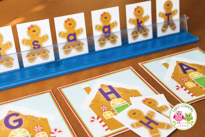 Kids will enjoy this free gingerbread man printable alphabet activity. Several ideas for hands-on alphabet and beginning sound activities are included. This is a perfect addition to you gingerbread man lesson plans or Christmas themed literacy centers, literacy work stations or tubs in preschool, pre-k, and kindergarten.