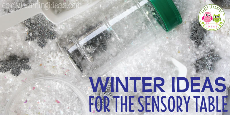 Are you having trouble thinking of new fillers for your sensory table? Here are a few winter sensory table ideas that your kids will LOVE. These sensory bin fillers will be perfect for your winter theme, snow theme, and snowman theme units and lesson plans in your preschool, pre-k and kindergarten classroom. Includes ideas for non-food fillers, fake snow, baking soda, small world and plenty of fun ideas. #sensorybin #winteractivitiesforkids #preschool #prek