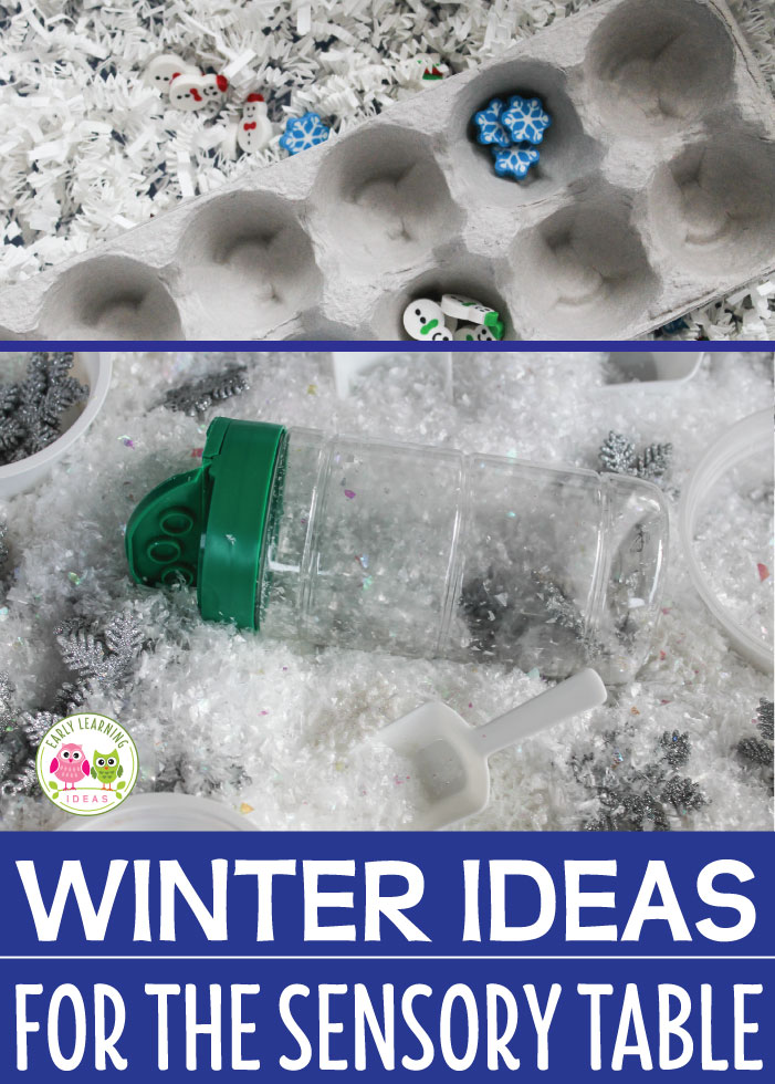 Having trouble thinking of new fillers for your sensory table? Here are a few winter sensory table ideas that your kids will LOVE. These sensory bin fillers will be perfect for your winter, snow, and snowman themed units in preschool, pre-k and kindergarten.