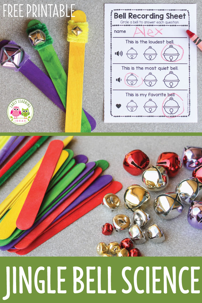 Use this simple science project to explore sound with young kids. Make three jingle bell sticks and record observations on free printable recording sheet. This is a perfect STEM or STEAM activity or craft for kids in preschool, pre-k, and kindergarten. A great holiday or Christmas party activity. Supports a Christmas or 5 senses theme or unit in your classroom and the jingle bell sticks can be used as a circle time activity. #preschool #prek #preschoolholidayactivities #preshoolscience