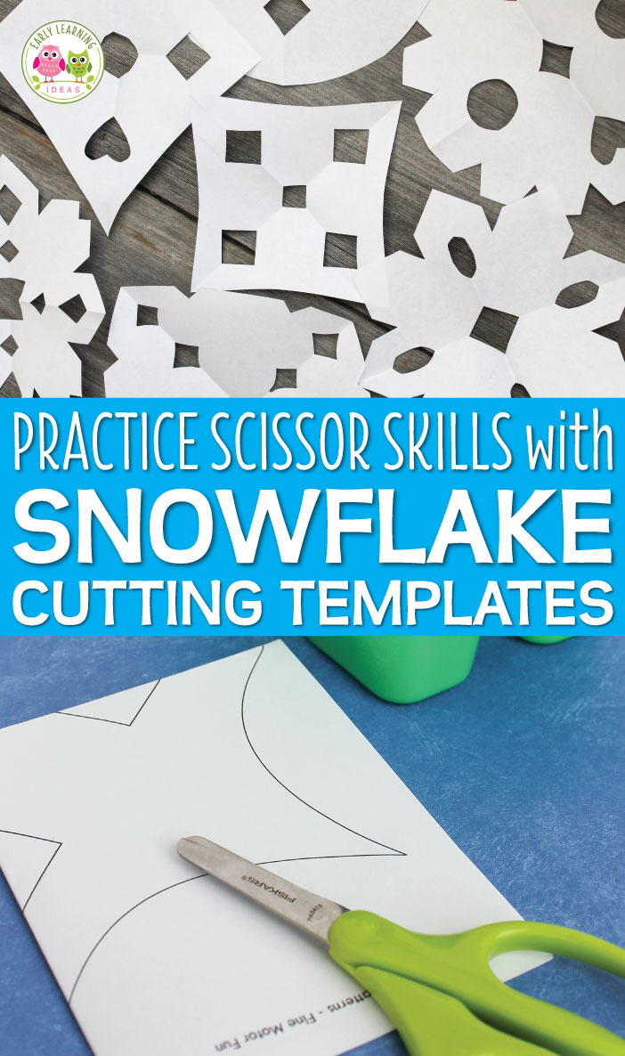 Motivate kids to practice their scissor skills by making paper snowflakes. To help them experience success with their snowflake creations, use snowflake cutting templates. This is a great activity for preschool, pre-k, and kindergarten. Use them for a winter theme party. Kids LOVE these snowflake patterns. Winter theme, snow theme and Christmas theme lesson plans and units.