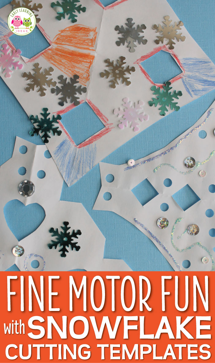 You can help kids experience success while making snowflakes by using snowflake cutting templates. Kids can take their paper snowflake designs to the next level with a hole punch and the addition of sequins, crayons, and glitter. A great winter fine motor activity for preschool, pre-k, and kindergarten. Perfect for a winter party activity or your winter theme or snow theme lesson plans or units. Kids love making these simple snowflakes.