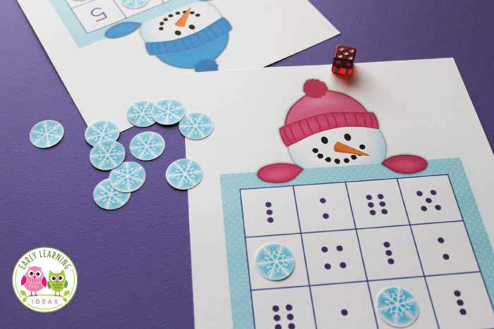 Use this cute snowman game to help kids work on number skills. The free snowman printable includes 4 levels of game boards that you can use with many different learners. Perfect for your math station or math learning center in preschool, pre-k and kindergarten. Kids can learn dot patterns, numeral recognition and simple +1 addition (one more) and simple -1 (one less) subtraction. For your winter theme lesson plans and winter them units....and snowman theme lesson plans and snowman theme units.