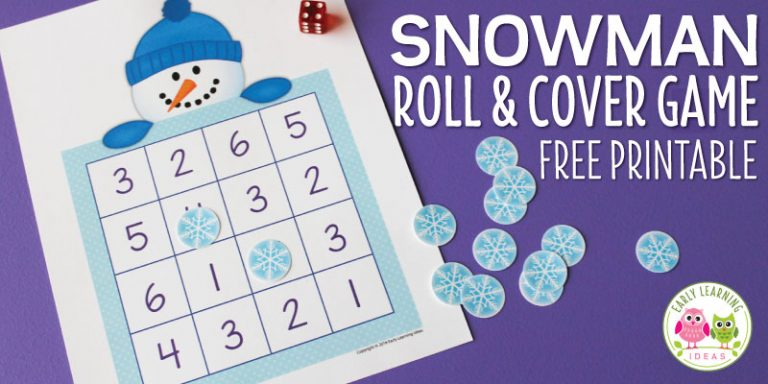 Snowman Game:  Free Printable Roll & Cover Math Game for Kids