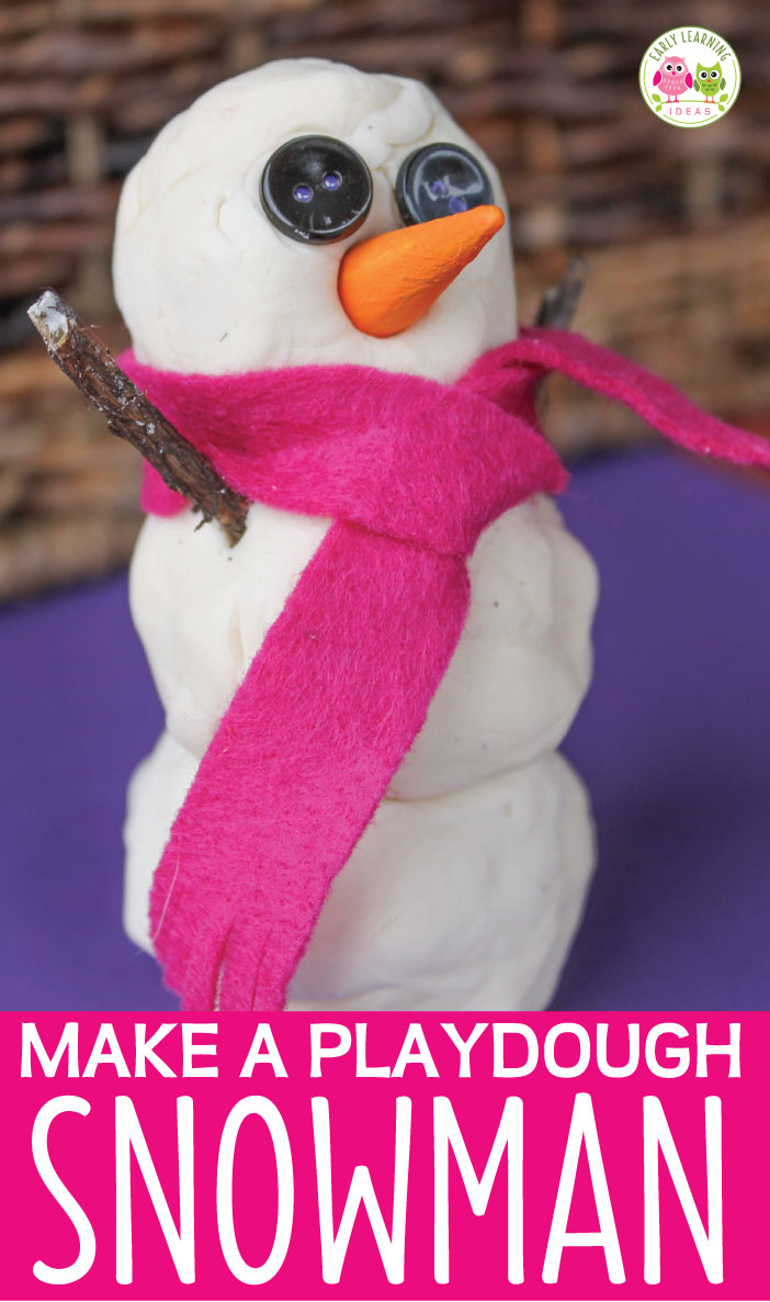 Make a playdough snowman with your kids. Use these ideas to make snowman accessories (eyes, carrot noses, scarves, and arms) to add to your winter creation. This is a great fine motor and sensory activity for your winter theme lesson plans in preschool, pre-k, and kindergarten. Use with snowman sequencing cards to demonstrate how to make a snowman for hands on learning. play dough, snowman theme, snowman lesson plans, snowman activities
