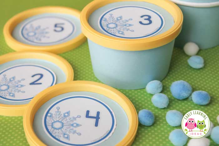 Looking for winter math activities for your kids? Try these snowflake number circles. Use the free math printables in muffin tins or use them to make counting containers. Many ideas are included for counting, number sense, and even basic addition. Perfect for your math centers or math work stations in preschool, pre-k, and kindergarten. Snow theme, snow lesson plans, snow unit.....or winter theme, winter lesson plans, and winter unit.
