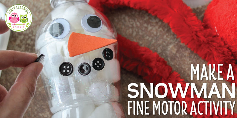 Are you looking for winter theme activity ideas for your kids? This fun snowman fine motor activity fits the bill. The snowman is easy to craft from a plastic bottle. Kids enjoy filling the snowman with snow (pom-poms or cotton balls) and attaching eyes, nose, mouth (buttons), and accessories. Perfect for you winter theme lesson plans and snowman theme lesson plans in #preschool #prek, and kindergarten. , snowman craft, snowman activities, fill the snowman. #winteractivitiesforkids