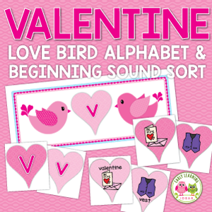 Valentine's Day alphabet and beginning sound sorting activity