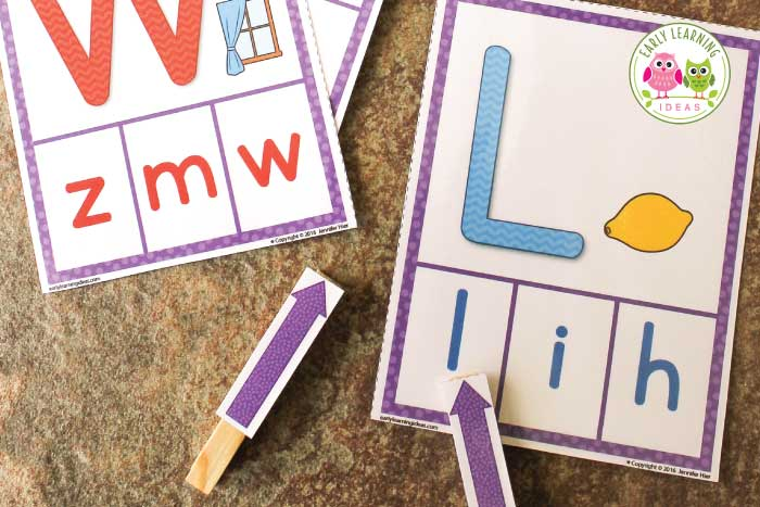Looking for literacy ideas and printables? Use this free printable abc activity to help kids learn letters and beginning sounds. The alphabet clip cards are a great multi-sensory and hands-on activity. Use in literacy centers or add to your writing center throughout the year. Better than worksheets, use the cards again and again in your preschool and pre-k classroom. Young children can use the free printables to learn letter formation by finger tracing the large letters. #alphabetactivities