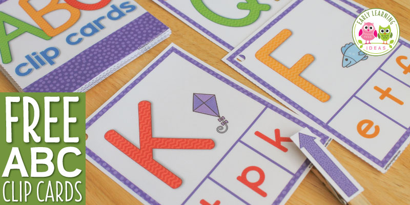 Looking for literacy ideas and printables? Use this free printable abc activity to help kids learn letters and beginning sounds. The alphabet clip cards are a great multi-sensory and hands-on activity. Perfect for your literacy centers or add to your writing center throughout the year. Better than worksheets, the cards can be used again and again. in your preschool and pre-k classroom. Young children can use the free printables to learn letter formation by finger tracing the large letters.