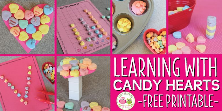 Valentine's Day Activities for Preschool:  Learning with Conversation Hearts [Free Printable]