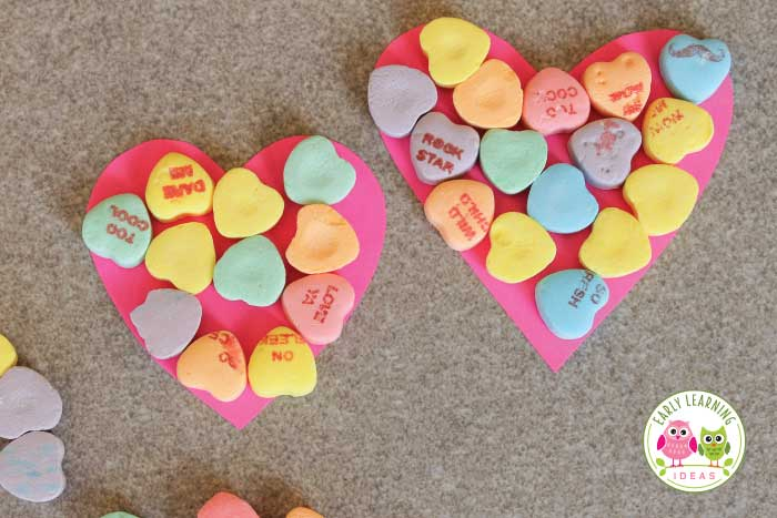 Conversation hearts can be used for fun learning activities. Here are many ideas for Valentine's Day activities for preschool. Includes a free printable graphing page. Use the Valentine's Day candy hearts for math, numeracy, literacy, color, and patterning activities. So many ways for hands'on learning for your Valentine's Day theme unit or lesson plans. Perfect for preschool, pre-k, and kindergarten learning centers, learning stations, math centers, math tubs or Valentine's Day party games.