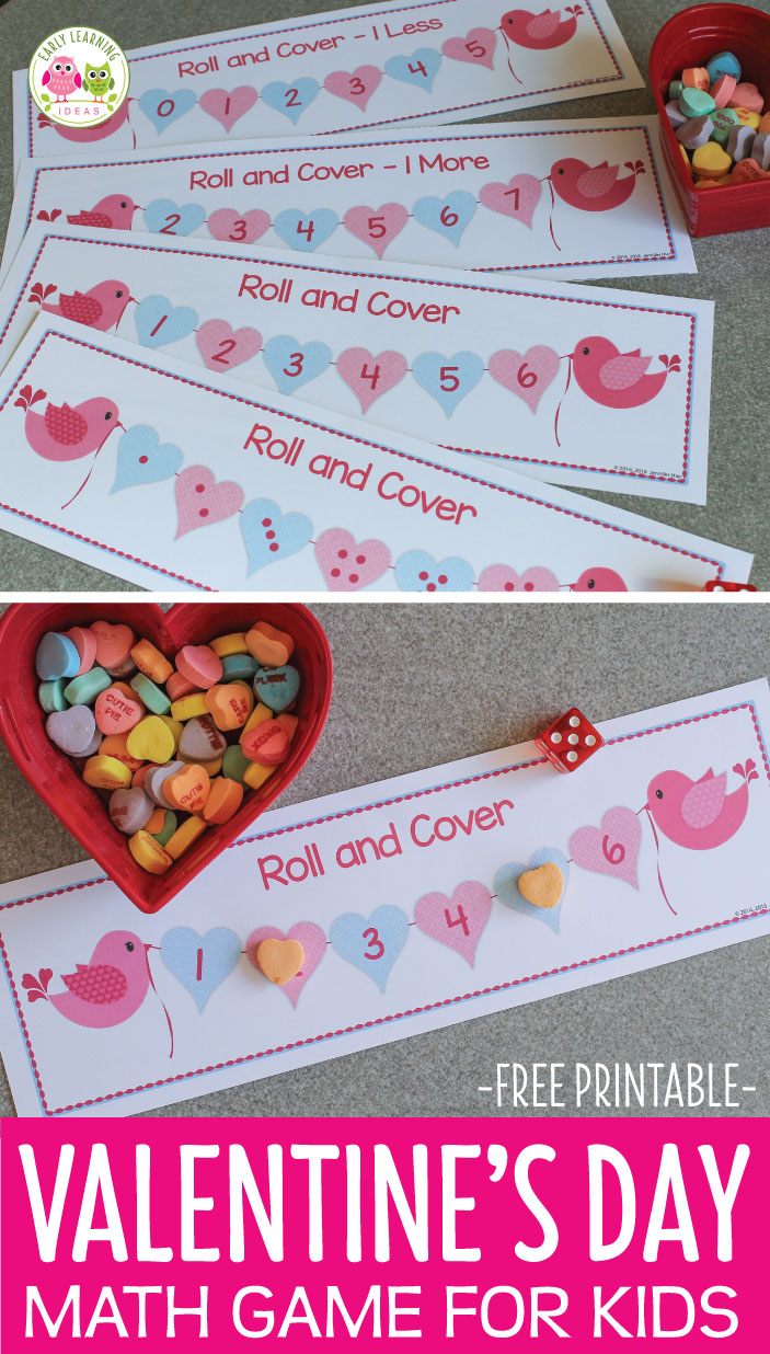 Here is a fun Valentine's Day game for kids. Use this free printable roll and cover game your Valentine's Day theme math centers of work stations. Perfect for your preschool, pre-k, and kindergarten kids. Use this hands-on math game to teach subitizing, counting, numeral recognition plus the concepts of one more and one less. February math, February math work stations, work tubs.