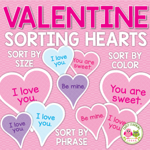 Valentine's Day sorting hearts activity