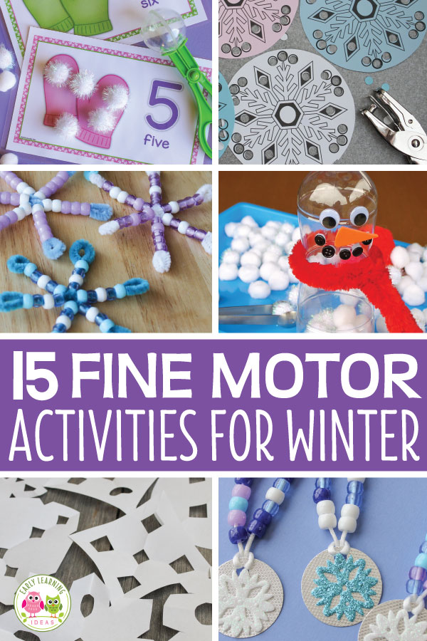 Here are 15 ideas for winter theme fine motor activities. Your kids will enjoy playing and learning as they strengthen their fine motor skills. Great hands-on math, literacy and play-dough activities for preschool, pre-k and kindergarten. Perfect for your winter theme, mitten theme, snowman theme, snow theme, unit and lesson plans. Get out the beads, cotton balls, stickers, and hole punch. #winteractivitiesforkids #finemotor #preschool #prek