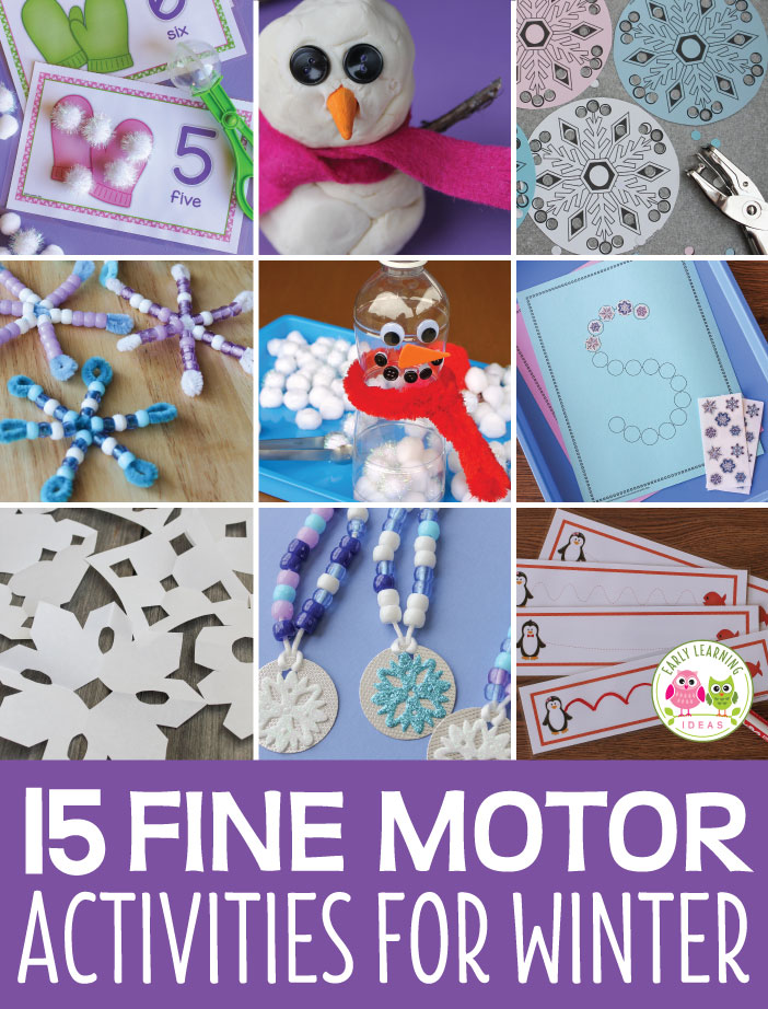 Here are 15 ideas for winter fine motor activities. Your kids will enjoy playing and learning as they strengthen their fine motor skills. Great hands-on activities for preschool, pre-k and kindergarten. Perfect for your winter theme, mitten theme, snowman theme and lesson plans.