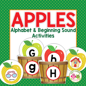 apple alphabet and beginning sound activities for preschool, pre-k and kindergarten