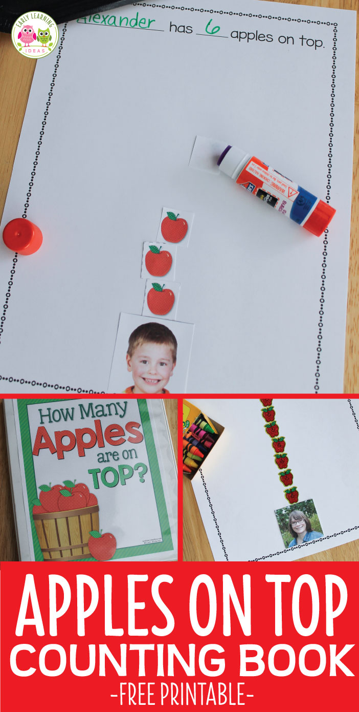 Here is a free printable to help you make an apple counting book for your kids. Kids will enjoy reading this book over and over because it features pictures of them. Perfect for your apple theme or lesson plans or a lesson or unit featuring Dr. Seuss and his Ten Apples on Top book. ELA and literacy center in preschool, pre-k, and kindergarten. Class book, counting book