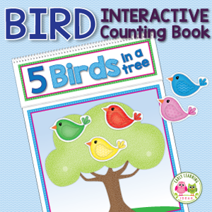 birds theme interactive counting and rhyming book activity