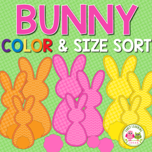 Easter bunny color and size sorting