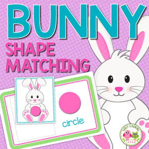 Easter bunny shape matching activity