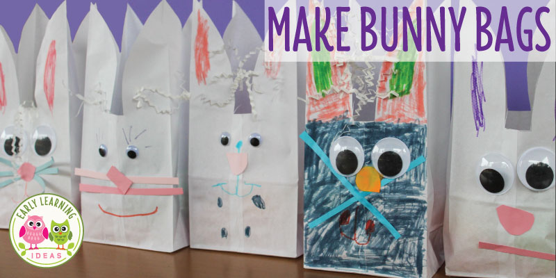Making bunny bags is one of my favorite Easter crafts for preschoolers. Transform a simple lunch bag into an adorable bunny work of art...complete with a cotton ball tail. The cute bags make a great activity at a kids Easter or birthday party....and they can be used for goody, treat, or favor bags. This craft idea is great for your Easter theme, bunny theme or spring theme unit or lesson plans in preschool, pre-k or kindergarten. #preschool #bunnyactivities #preschooleasteractivities