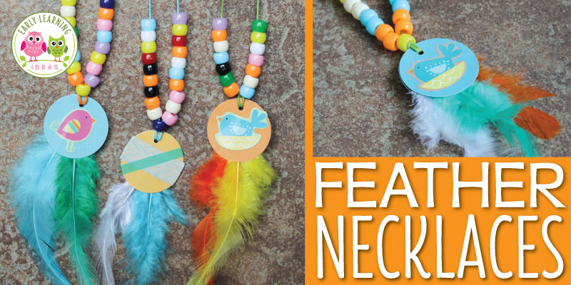 These feather necklaces are a fun fine motor activity for kids and are a perfect addition to a Thanksgiving, turkey, or Spring birds theme unit or lesson plans. The article also includes ideas for working on math concepts like counting, comparing quantities, and creating patterns. This is a perfect hands on math and fine motor activity for your preschool, pre-k and kindergarten classroom. #preschool #finemotoractivities