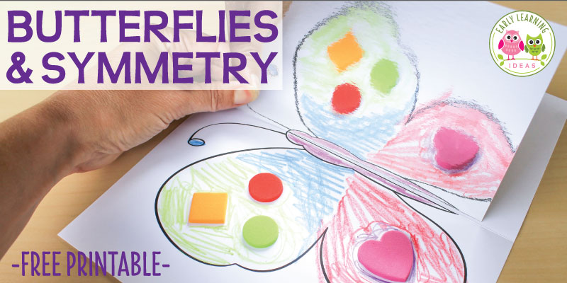 Use this butterfly activity to introduce symmetry to your kids. After decorating the free printable you can use mirror board to help kids see that a butterflies wings are symmetrical. This is a great math activity for your butterfly unit, insect unit, or Spring theme unit or lesson plans. A perfect engaging activity for preschool and pre-k. Butterfly activities, butterfly life cycle, butterfly craft for kids.