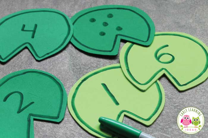 Young kids will enjoy this frog counting activity. Use my free printable template to make numbered lily pads. Kids will enjoy using the number lily pads in a sensory bin, water table, or a container filled with water. Perfect for your frog theme, pond theme, or spring theme unit and lesson plans in your preschool or pre-k classroom. I enjoy using these with water beads for sensory paly...fun water play learning activity for kids. Frog life cycle. Frog hands-on learning #preschool #preschoolmath