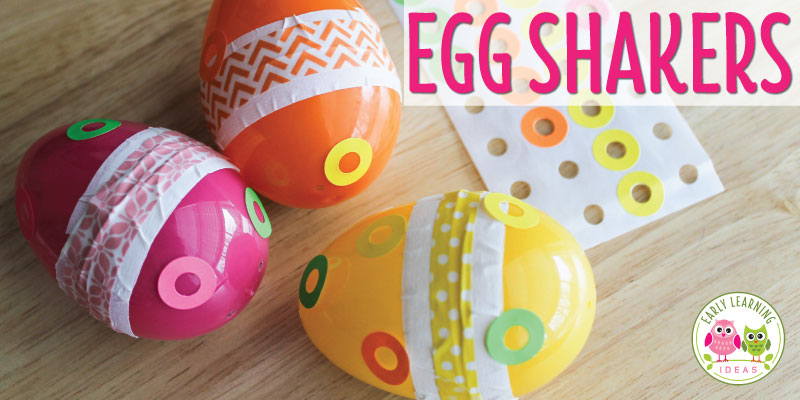 Looking for a fun arts and crafts for kids?  Learn how to make these cute egg shakers!  Ideas to incorporate STEM, math, language, and music & movement activities are included. This fun project is perfect for your Easter theme, spring theme, birds theme, or five senses theme unit or lesson plans...or any time of year in your preschool or pre-k classroom.  Get out your plastic Easter eggs and make fun instruments to use in your circle time activities.   #preschool #preschoolactivities