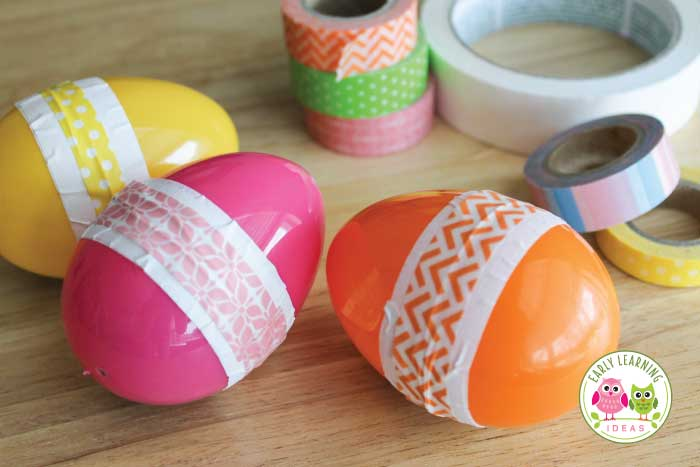 Looking for a fun arts and crafts for kids?  Make egg shakers!  Ideas to incorporate STEM, math, language, and movement are included with the directions. This fun project is perfect for Easter, spring, or any time of year in preschool and pre-k.  Spring unit, bird unit, Easter unit and lesson plans.  Easter activity ideas, musical instruments, Easter STEM