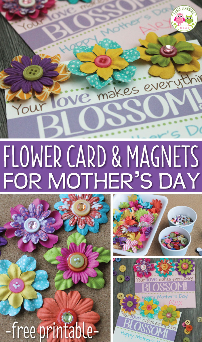 Mother's Day Gift - Make a simple Mother's Day craft and card from paper flowers and a few embellishments.  Attach the flower magnets to the downloadable card for a sweet gift.  Click through to see step-by-step directions.  This is a simple gift to make with kids in preschool, pre-k, kindergarten, early elementary, primary, and early childhood education.