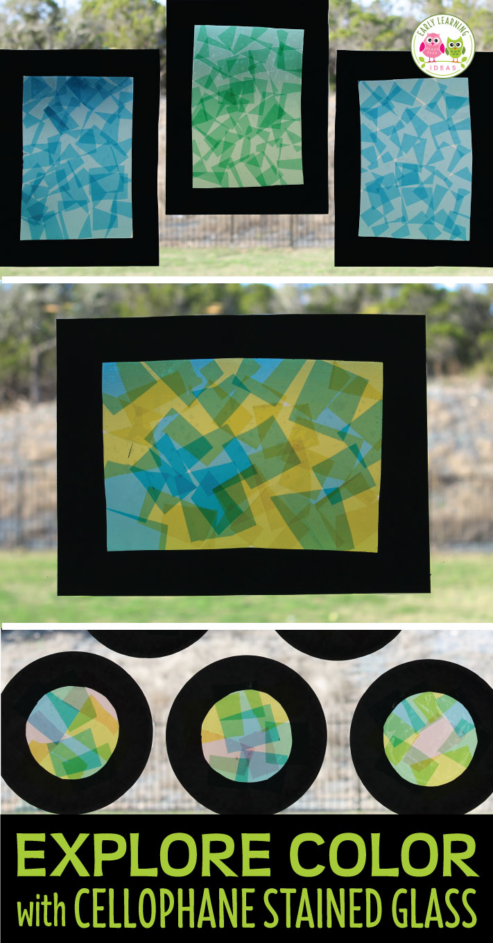 This cellophane stained glass craft is fun way to explore color with kids. Use this as a process art activity and a way to study color mixing and transparency. It's a great sensory activity that can even be used on a light table in preschool or pre-k. Color study, color mixing, science of color, STEAM activity.